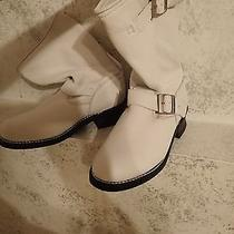 Element X Size 9 1/2 White Water Repell Leather Biker Boots  Photo