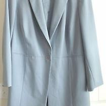 Elemental Stretch Silver Blue Elegant Long Length Blazer Jacket 26 Photo