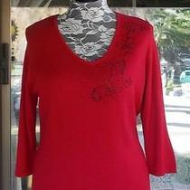 Elements Black Beaded Floral Red Sweater Sz. Xl   44