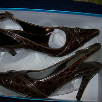 Elements by Nina  9m  Brown Reptile Embossed Pointed  Slingbacks Shoes Photo