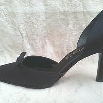 Elements by Nina Black Satin High Heel Evening Shoes 8.5 Photo
