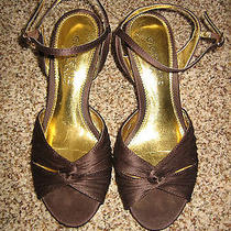 Elements by Nina Brown Satiny Fabric Sandals Size 6 (1189) Photo