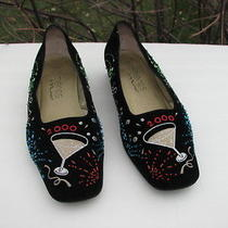 Elements by Nina  Ladiesblack Velvet Beaded Embroidered Holiday 2000  Size 9.5 M Photo