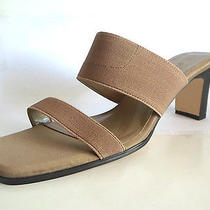 Elements by Nina Light Brown Tan Sandals Fabric Elastic Size 9 New Without Box Photo