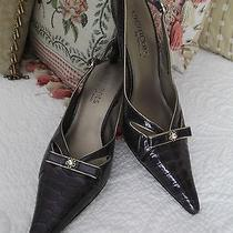 Elements by Nina Purple Patent Embossed Leather Slingback Heels - Size 7m Photo
