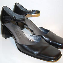 Elements by Nina Size 8 M Black Leather Ankle Strap Mary Janes High Heels  Photo