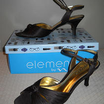 Elements by Nina Womens Shoes Brown Satin Heels Sandals Size 7.5 New Photo