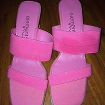 Elements by Nina Womens Slip on Sandals  Med Heel Pink Solid Casual Photo