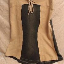 Elements by Vakko Dark Blue Denim & Beige Leather Skirt Like Chaps Size 8 Photo