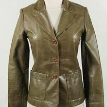 Elements by Vakko Olive Green 100% Leather Women's Front Pocket Blazer Size S Photo