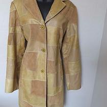 Elements by Vakko Retro Coat Brown Tan Leather Patch Work Button Front Size L Photo