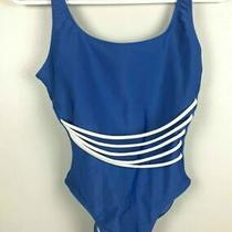 Elements Swimsuit Blue One Piece White Accents Size Small Womens Bathing Suit Photo