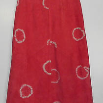 Elements Vakko Sz 4 Goat Suede Leather Coral Tie Dye Skirt Butter Soft O3w2 Photo