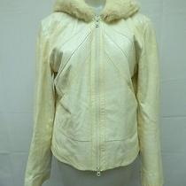 Elements Vintage Ivory Crackle Leather W/full Rabbit Fur Hood Jacket Sz M Photo