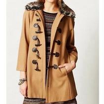 Elevenses Anthropologie Coat Jacket Toggle Faux Fur Collar Duffle Wool Tan 10 Photo