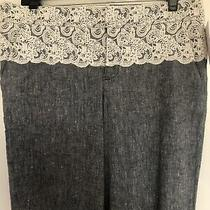 Elevenses Anthropologie Wide Leg Linen Pants - Lace Waist Size 8 Tall Nwt Photo