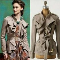 Elevenses Anthropologie Womens Femme Trench Jacket Belted Ruffle Size 2 Taupe Photo