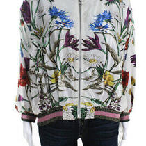 Elevenses Anthropologie Womens Floral Jacket White Multi Color Size Large Photo