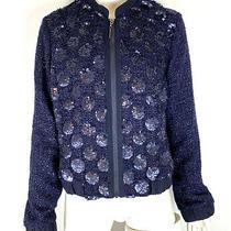 Elevenses Anthropologie Womens Sequin Sky Bomber Jacket Blue Tweed Size M Photo