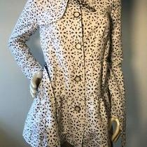 Elevenses Eyelet Tiered Trench Coat Size 6 White Gray Anthropologie Bin-A Photo