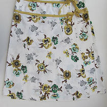 Elevenses White Yellow Green Floral Tie Wrap Skirt Size 6 Waist 30 Anthropologie Photo