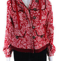 Elevenses Women's Zip Up Hooded Jacket Cotton Red White Size 2 Photo