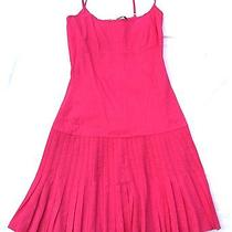 Elie Tahari 12 High End Designer Pink Pleated Skirt Stretch Linen Sundress Clean Photo