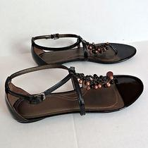 Elie Tahari 278 Black Patent Leather Gladiator Strap Sandals Shoes Size 10m New Photo