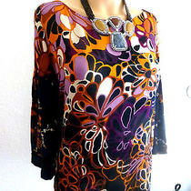 Elie Tahari 3/4 Sleeve Floral Silk Top Size S ( Bust 38 ) Photo