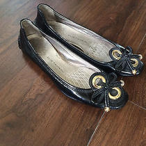 Elie Tahari 37 6 6.5 7 Janine Ballet Flats Driver Shoes Black Leather Gold Robin Photo