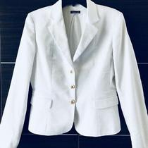 Elie Tahari 398 Womens White Jacket Tailored Blazer Detailed Stitching Size 10 Photo