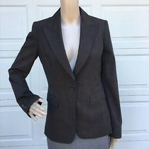 Elie Tahari  4 Black Brown Glencheck Single Breasted Stretch Wool  Blazer Jacket Photo