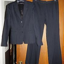 Elie Tahari 696 Navy Blue Smooth Wool Pinstripe Blazer & Wide Leg Pants Suit 8 Photo
