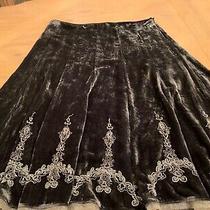 Elie Tahari 8 Crushed Velvet Silk Blend Embellished Skirt Raw Hem Lined  Photo