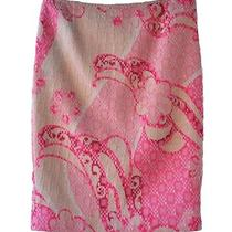 Elie Tahari 8 Skirt Pink Art Nouveau Tweed Pencil Skirt  Photo