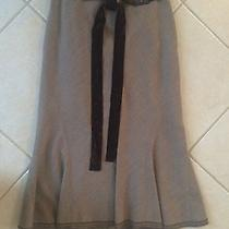 Elie Tahari a-Line Skirt With Tie Brown Wool Blend Size 2 Photo