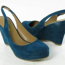 Elie Tahari Alexia Teal Wedges Womens Size 8.5 M New 248 Photo