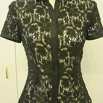 Elie Tahari Black Floral Lace Knit Top Shirt Blouse Size Xs 0 2 Photo