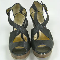 Elie Tahari Black Leather Platform Wedge Sandal Size 36.5 Photo