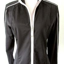 Elie Tahari Black Nylon Stretch Activewear Zip Jacket States Sz Xs Measures Med Photo