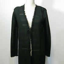 Elie Tahari Black Open Weave Fringed Cardigan  Long Sleeve Sweater  Size Xs Photo