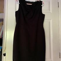 Elie Tahari Black Pencil Dress With Ruff Detail Uk14 Photo