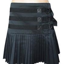 Elie Tahari Black Pleated Mini Skirt 10 Buckle Detail Flirty  Photo