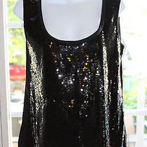 Elie Tahari Black Silk Sequin Tank Top Blouse Small Photo
