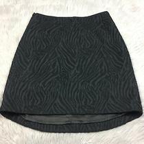 Elie Tahari Black Textured Animal Zebra Stripe High Low Mini Skirt Sz 6 Photo