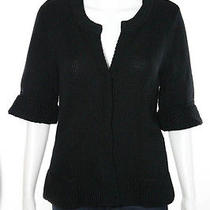 Elie Tahari Black v Neck Short Sleeve Woven Knit Button Down Sweater Sz M Photo