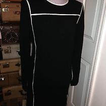 Elie Tahari Black White Trim Sweater Knit Nautical Look Audrey Hepburn Dress M Photo