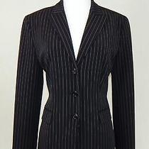Elie Tahari Black With White Pinstripe Stretch Career Jacket Blazer Size 8 Photo