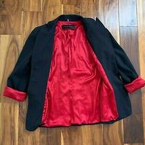 Elie Tahari Blazer With Red Lining Stretch Black Buttons Fitted Lapel Photo