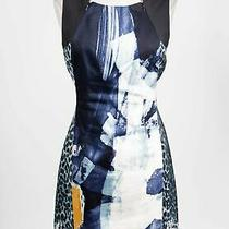 Elie Tahari Blue Cotton Blend Abstract Sleeveless Zip Neck Sheath Dress Sz 10 Photo